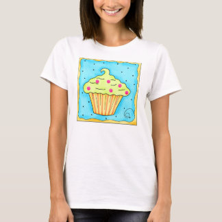 Yellow and Green Cupcake Tee Shirt