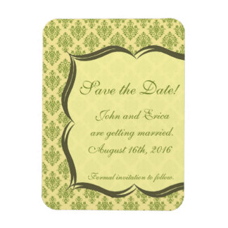Yellow and Green Damask Save the Dates Magnet