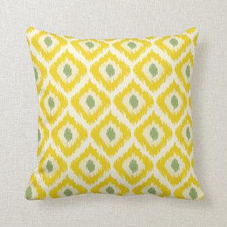 Yellow And Green Diamond Ikat Pattern Pillow