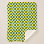 [ Thumbnail: Yellow and Green Diamond Shape Pattern Blanket ]