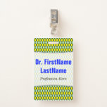 [ Thumbnail: Yellow and Green Diamond Shape Pattern; Name Badge ]