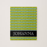 [ Thumbnail: Yellow and Green Diamond Shape Pattern + Name Jigsaw Puzzle ]