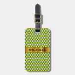[ Thumbnail: Yellow and Green Diamond Shape Pattern + Name Luggage Tag ]