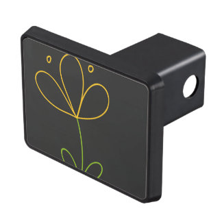 Yellow and Green Doodle Flower on Dark Gray Hitch Covers