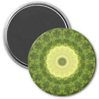 "Yellow and Green ""Evergreen"" Mandala Kaleidoscope Magnet"