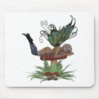 yellow and green fairy on mushroom mouse pad