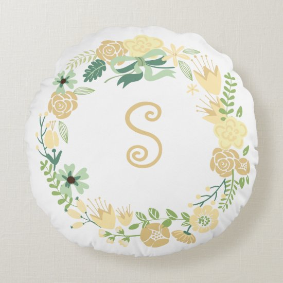 Yellow and Green Floral Wreath Monogrammed Pillow