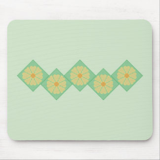 Yellow and Green Flower Border Mousepad