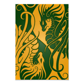 Yellow and Green Flying Yin Yang Dragons Card