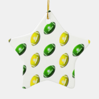 Yellow and Green Football Pattern Ceramic Ornament