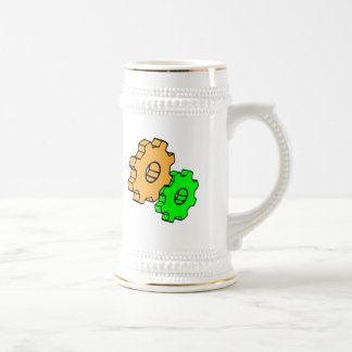 Yellow and green gears beer stein