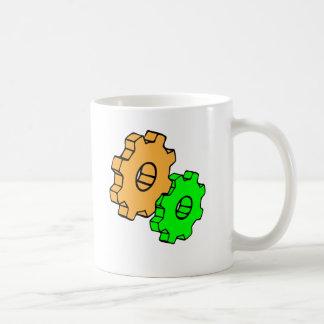 Yellow and green gears coffee mug