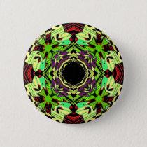 Yellow and Green geometric pattern Pinback Button