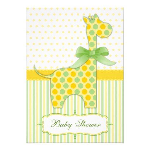 yellow and green giraffe baby shower invitation 5 x 7 invitation