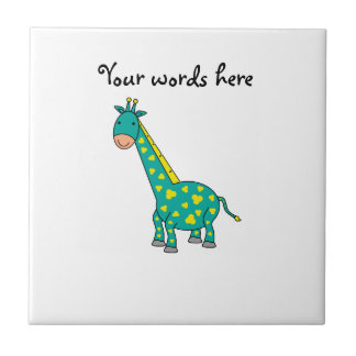 Yellow and green giraffe small square tile