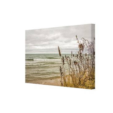 Art Themed Yellow and Green Grasses and Waves Canvas Print