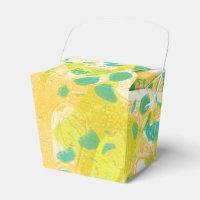 Yellow and Green Handmade Monoprint Design Favor Box