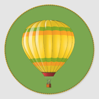 Yellow and Green Hot Air Balloon Classic Round Sticker