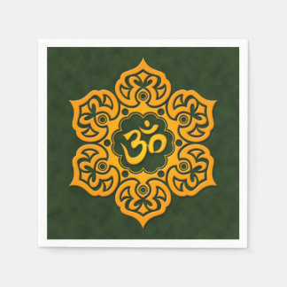 Yellow and Green Lotus Flower Om Paper Napkin