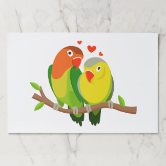 Yellow And Green Lovebirds Wedding Party Bird Paper Placemat