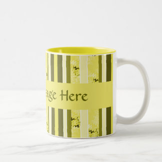Yellow and Green Olive Green Stripes Coffee Mugs