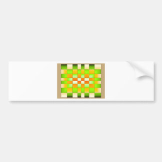 Yellow and Green Optical Illusion Chess Board Bumper Sticker