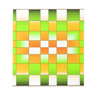 Yellow and Green Optical Illusion Chess Board Memo Notepads