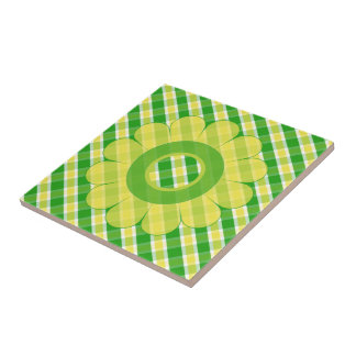 Yellow And Green Plaid Floral Ceramic Tile