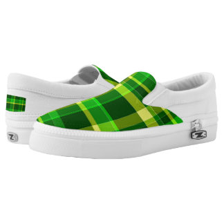 Yellow and Green Plaid Slip On Sneakers