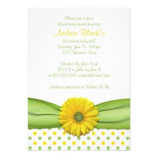 Yellow and Green Polka Dots Baby Shower Invitation