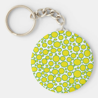 Yellow and Green Polka Dots Keychain