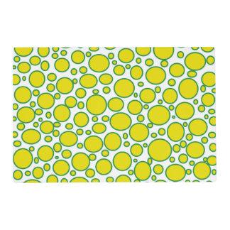 Yellow and Green Polka Dots Laminated Placemat