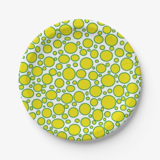 Yellow and Green Polka Dots Paper Plates