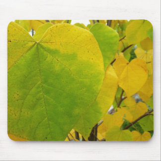 Yellow and Green Redbud Leaves Autumn Hearts Mouse Pad