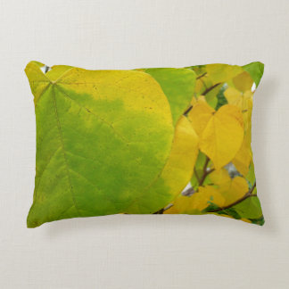 Yellow and Green Redbud Leaves Autumn Nature Decorative Pillow