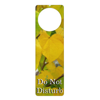 Yellow and Green Redbud Leaves Autumn Nature Door Hanger