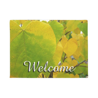 Yellow and Green Redbud Leaves Autumn Nature Doormat