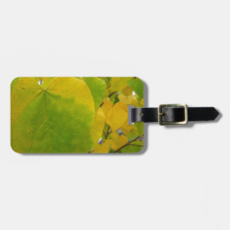 Yellow and Green Redbud Leaves Autumn Nature Luggage Tag