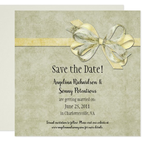 Yellow and Green Ribbons and Bows Save The Date Invitation