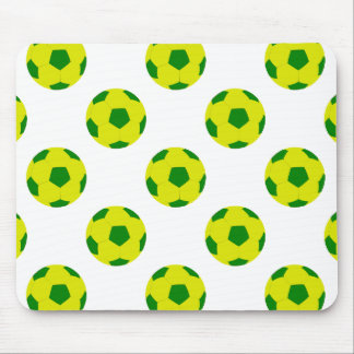 Yellow and Green Soccer Ball Pattern Mouse Pad