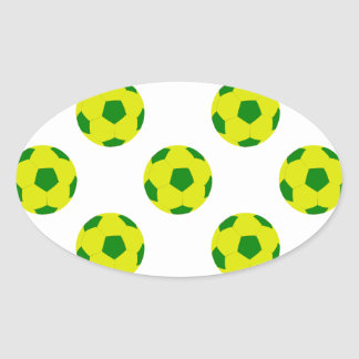 Yellow and Green Soccer Ball Pattern Oval Sticker