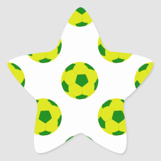 Yellow and Green Soccer Ball Pattern Star Sticker