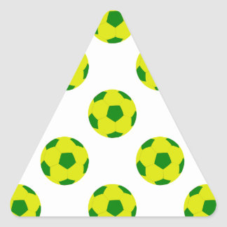 Yellow and Green Soccer Ball Pattern Triangle Sticker
