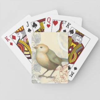 Yellow and Green Sparrow on Vintage Background Playing Cards