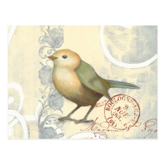 Yellow and Green Sparrow on Vintage Background Postcard