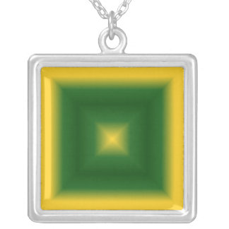 Yellow And Green Square Necklace