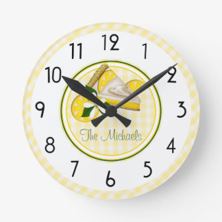 Yellow and Green Stripes and Checks Round Clocks