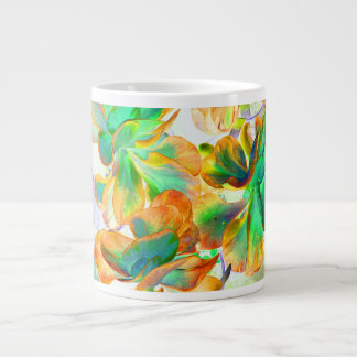 yellow and green succulent colorized 20 oz large ceramic coffee mug