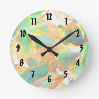 yellow and green succulent colorized wallclocks