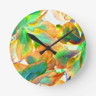 yellow and green succulent colorized round wall clock